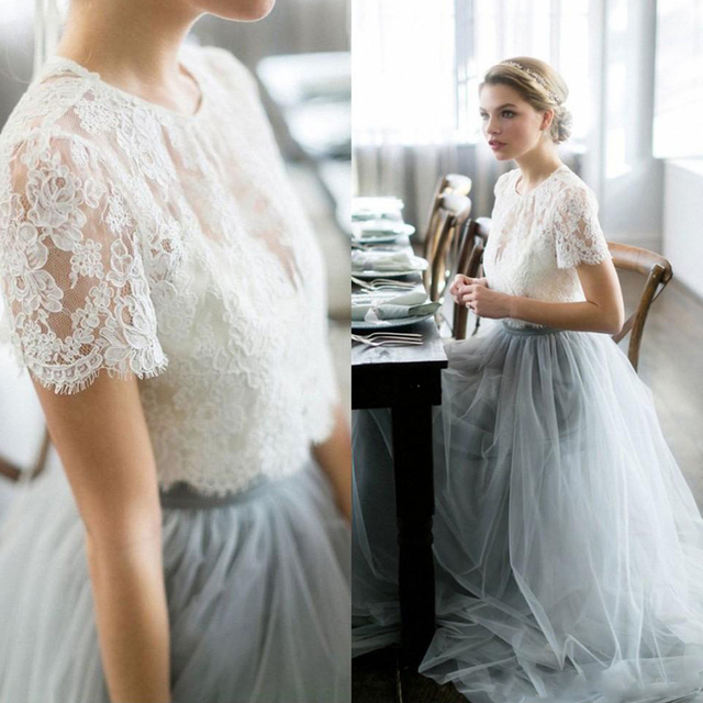 Vintage 2017 Wedding Dresses Beach Bohemian Lace Tulle Bridal Gowns Sheer Neck Two Piece Pale Blue