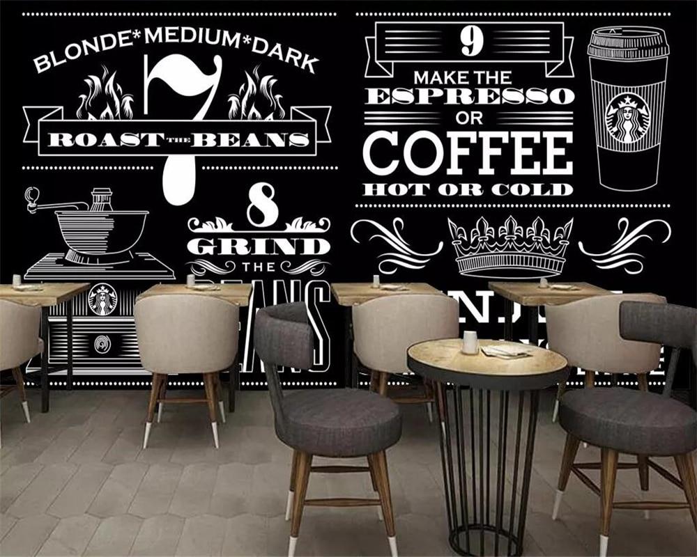 Gambar Kedai Kopi Hitam Putih Beibehang Custom Wallpaper European Minimalist Hand Painted Black