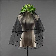 Аксессуары для свадьбы высокое качество 2 яруса черная свадебная фата короткая для невест