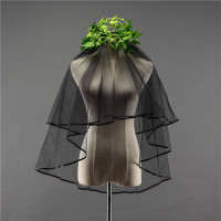 Accessoire De Marriage In Stock High Quality 2 Tiers Black Wedding Veil Short For Brides