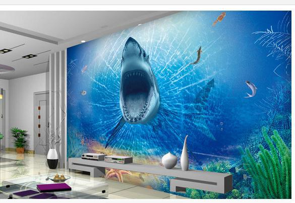 Custom Photo Wallpaper 3d Wall Murals Wallpaper 3 D Great White Sharks TV Setting Wall Of Terror Wall Papers For Living Room