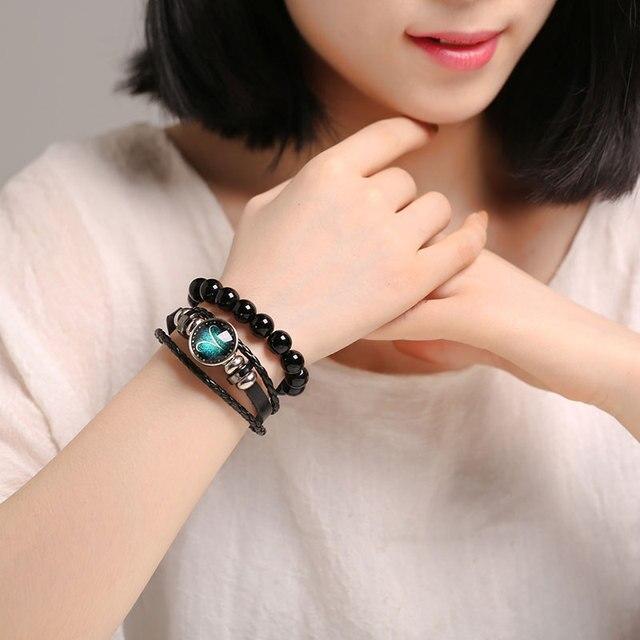 New 12 Constellation Luminous Bracelet Men Leather Bracelet Charm Bracelets for Men Boys Women Girl Jewelry Accessories Gifts 3