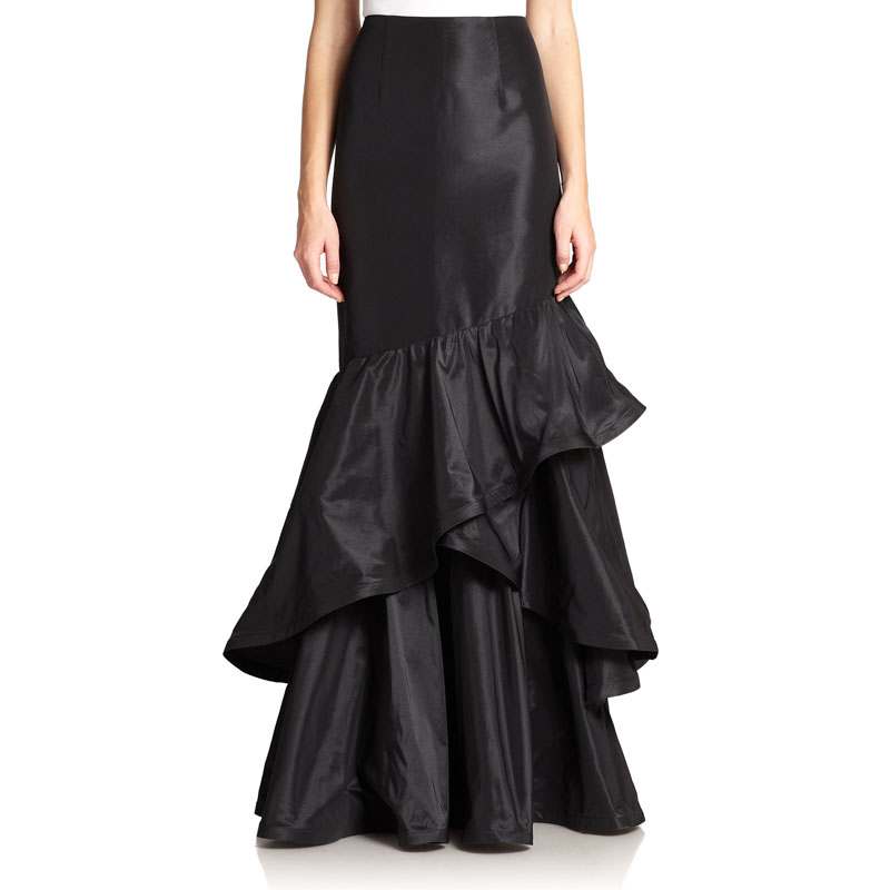 High Waist Black Taffeta Long Skirt Customized Fashion Ruffles Mermaid Skirts Womens Elegant Prom Party Saia Banquet Skirt