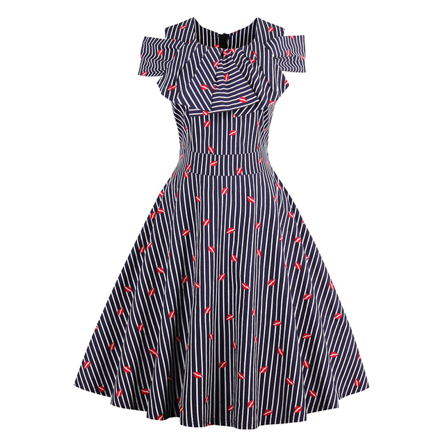 d076d3a6a2d Women Stripe A-Line Dress 1950s Style Red Lips Cute Cold Shoulder Dress Lady  Daily Ruffle Collar Retro Vintage Dress