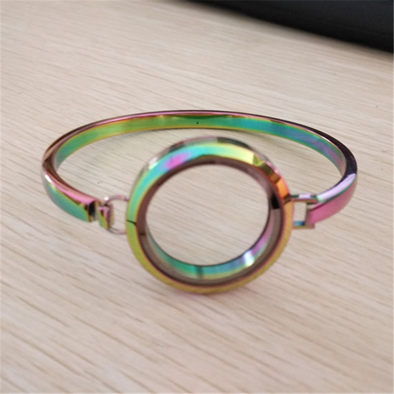 7inch 8inch Rainbow Floating Locket Bracelet Bangle 30MM 316L Stainless Steel Plain Screw Living Locket Bracelets