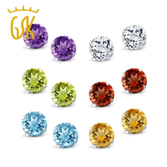 Aliexpress com : Buy GemStoneKing 4mm Natural Amethyst Topaz Garnet Citrine  Peridot Stud Earrings Set 925 Sterling Silver Fine Jewelry For Women from