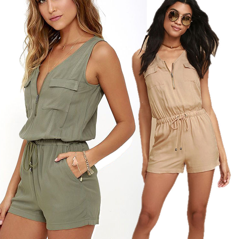 Jumpsuit Women Romper Shorts Summer Pockets Sleeveless Overalls Lady Playsuit Beach Zipper Coveralls Femme Bodysuit 2018 Popular