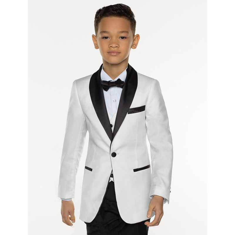 White Kid Suit Boys Tuxedos Prom Sutis Flower Children Dress Suits Formal Blazer