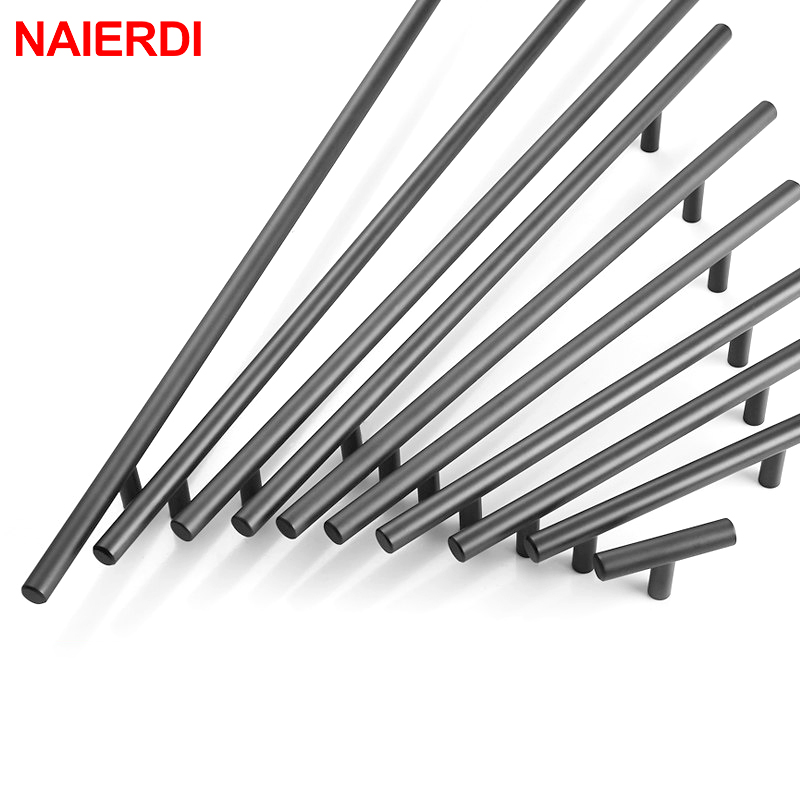 NAIERDI Cabinet Pull Diameter 10mm Stainless Steel Handles 2 ~ 24'' Kitchen Door T Bar Straight Handle Knobs Furniture Hardware 4pcs naierdi c serie hinge stainless steel door hydraulic hinges damper buffer soft close for cabinet kitchen furniture hardware