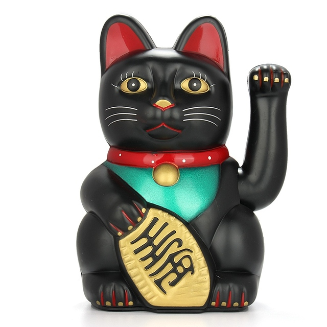 "[ Fly Eagle ] 432Pcs LUCKY BECKONING CAT 5"" Black Wealth Waving Maneki Neko Feng Shui Japanese"