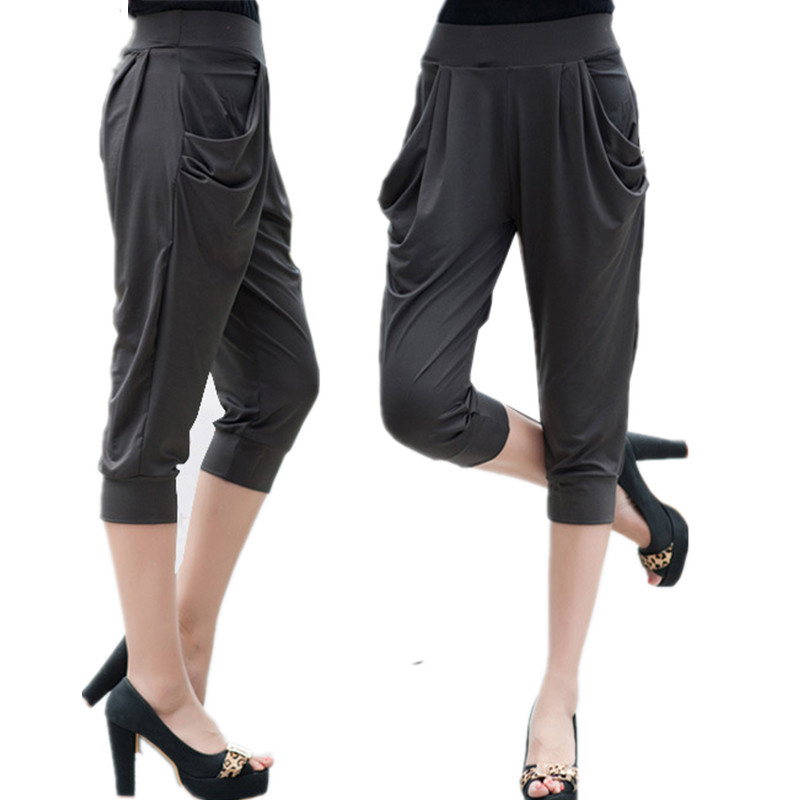 Large Size 5Xl 6XL 7Xl 8xl Calf Length Pants Summer breeches Women Soft Silk Stretch Pants Plus Size Harem Trousers Capri Female