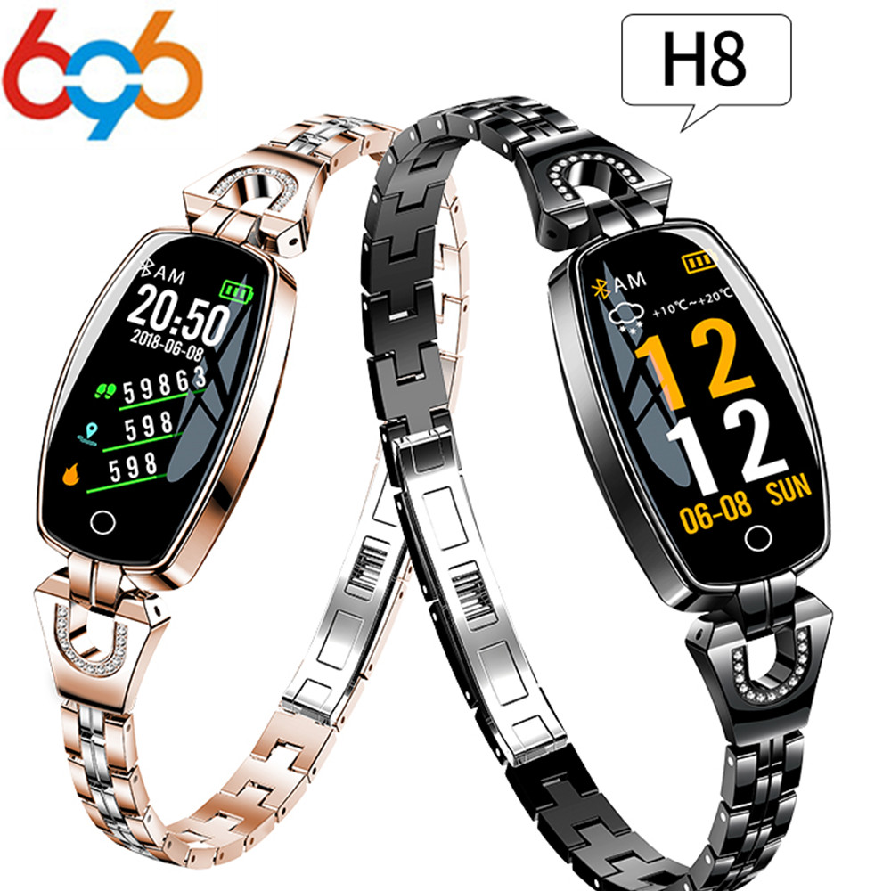 696 H8 Smart watch Women Lady Smart Watch Bracelet Fashion Wear Stainless Steel Strap Jewel Watch for Android IOS for xiaomi