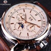 Forsining Fase Lunar Movimiento Shanghai Marrón Caja de Oro Rosa Correa de Cuero Genuino Para Hombre Relojes de Primeras Marcas de Lujo Reloj Auotmatic