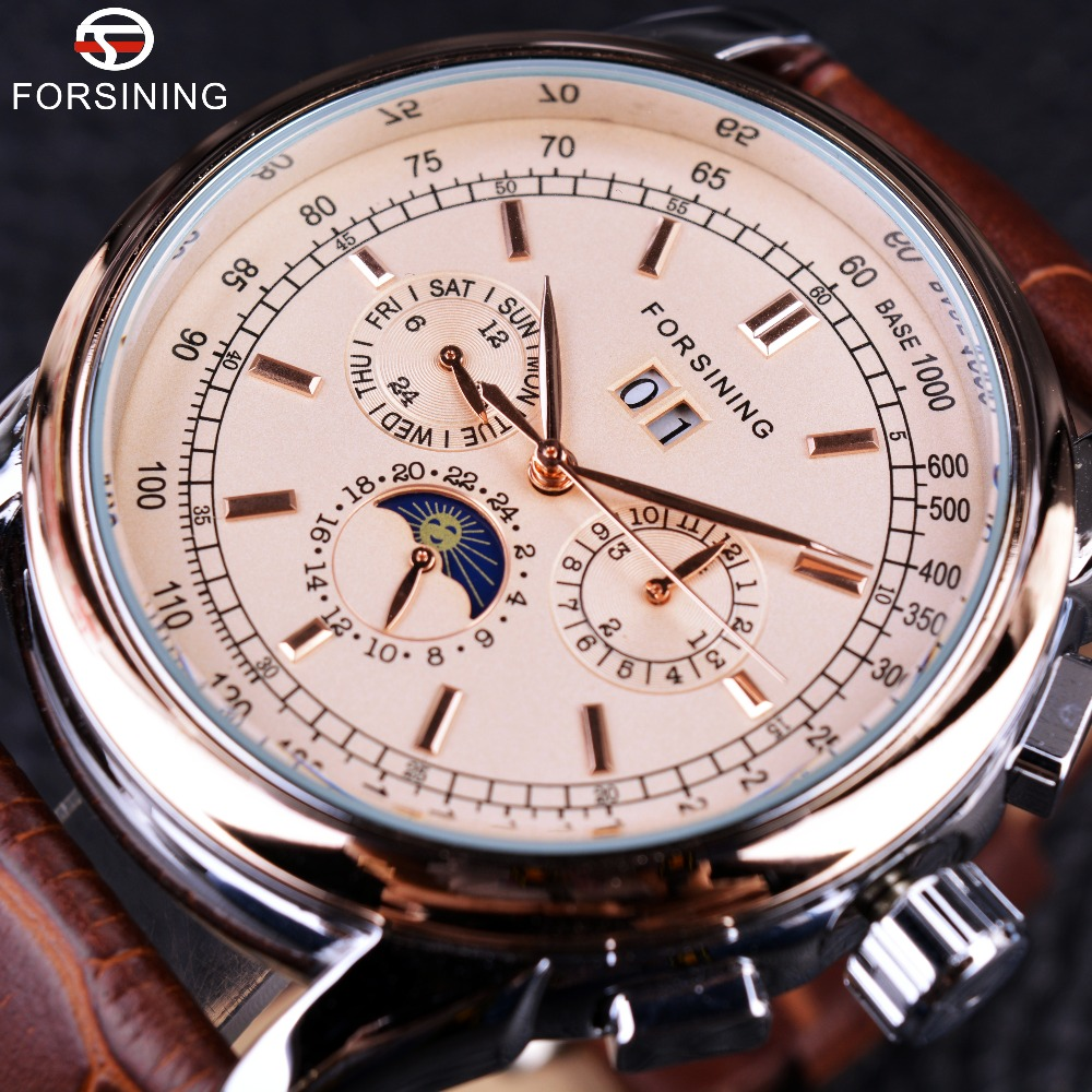 цена на Forsining Moon Phase Shanghai Movement Rose Gold Case Brown Genuine Leather Strap Mens Watches Top Brand Luxury Auotmatic Watch