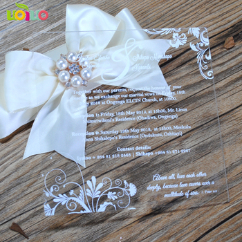 50pcs popular wedding acrylic invitation card flower design pattern free printing wedding invitation cards with cheap price