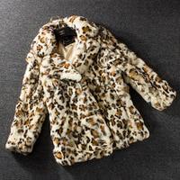 Leopard fur coat women winter coat rex rabbit fur jacket