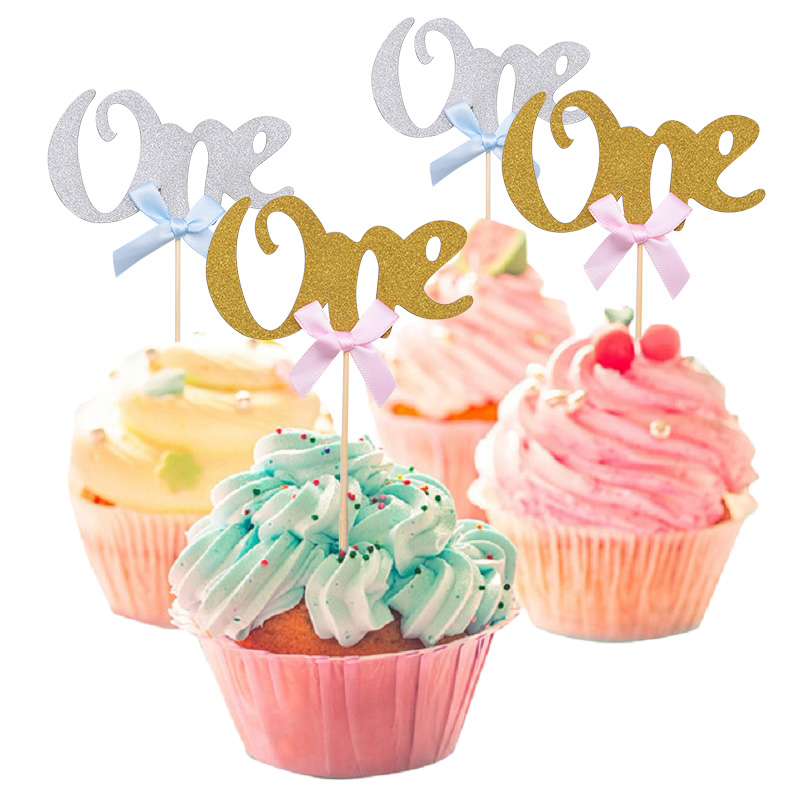10pcs First <font><b>Birthday</b></font> Cake Cupcake Topper 1st Party <font><b>Decorations</b></font> Baby Boy <font><b>Girl</b></font> <font><b>Birthday</b></font> Cake Flags Gold <font><b>1</b></font> Anniversary Supplies image