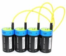 В 4 шт. 1,5 В литий-полимерный 9000mWh D размер аккумуляторной батареи D Тип батареи + USB кабель для зарядки