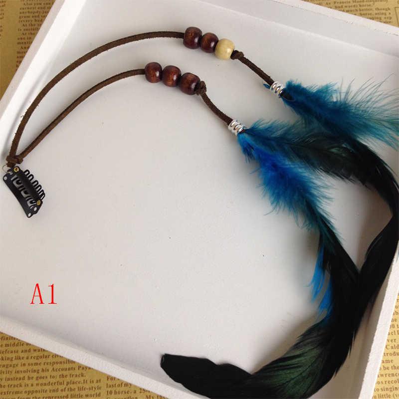 YULUCH 2018 Fashion Woman False Headdress Indian Handmade Feather Hair Accessories BB Holder Tassel Mussel Hairpiece Gift