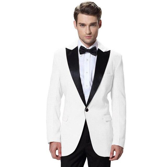 White Wedding Tuxedos For Men Grooms Wear Trajes De Novio 2015 Hombre Tuxedo Jacket Black