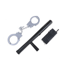 Kids Toys 3Pcs/set Riot Police Cosplay Kids Cop Handcuffs Baton Walkie Talkie Pretend Roles Play House Toys Gifts for children(China)