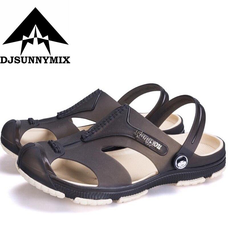 DJSUNNYMIX Plus Size 45 Men Sandals Jelly Shoes Garden Summer Fashiion Beach Breathable Casual Shoes Men