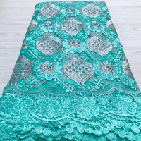 French lace fabric 5yds/pce dhl turquoise blue beads stones fabrics women gorgeous bright luxury party event asoebi dresses 2019