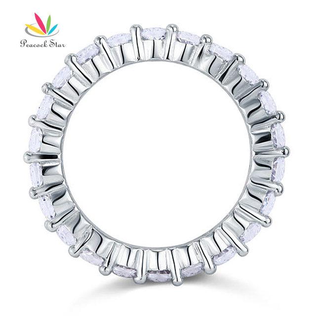 Pavone Stella Solido 925 Sterling Silver Wedding Band Eternity Impilabile Anello Dei Monili Taglio Rotondo CFR8061