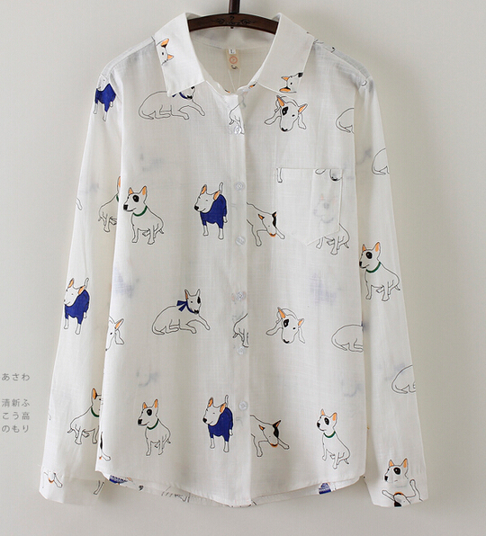 Free Shipping Lovely Hot Sale Dogs Printed Long Sleeve Turn-down Collar Woman Cotton Blouse White