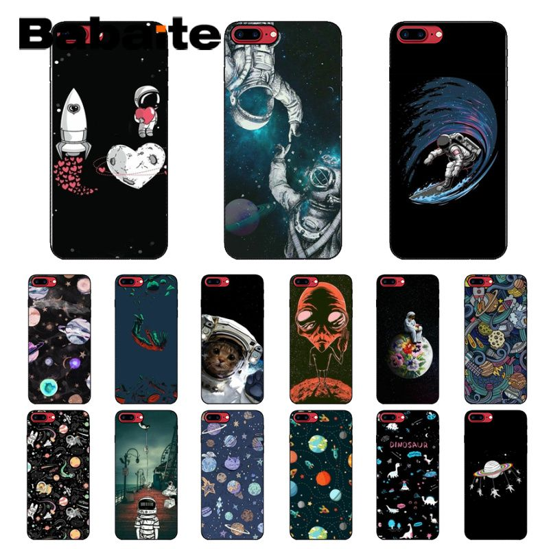 Phone Bags & Cases Half-wrapped Case Intellective Babaite Newest Space Moon Astronaut Black Soft Shell Phone Cover For Apple Iphone 8 7 6 6s Plus X Xs Max 5 5s Se Xr Mobile Cases Cool In Summer And Warm In Winter