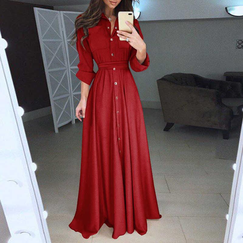 Женское платье макси на пуговицах и поясе, однобортное платье-рубашка с длинным рукавом, длиной в пол, элегантный вечерний наряд для женщин WS9871E