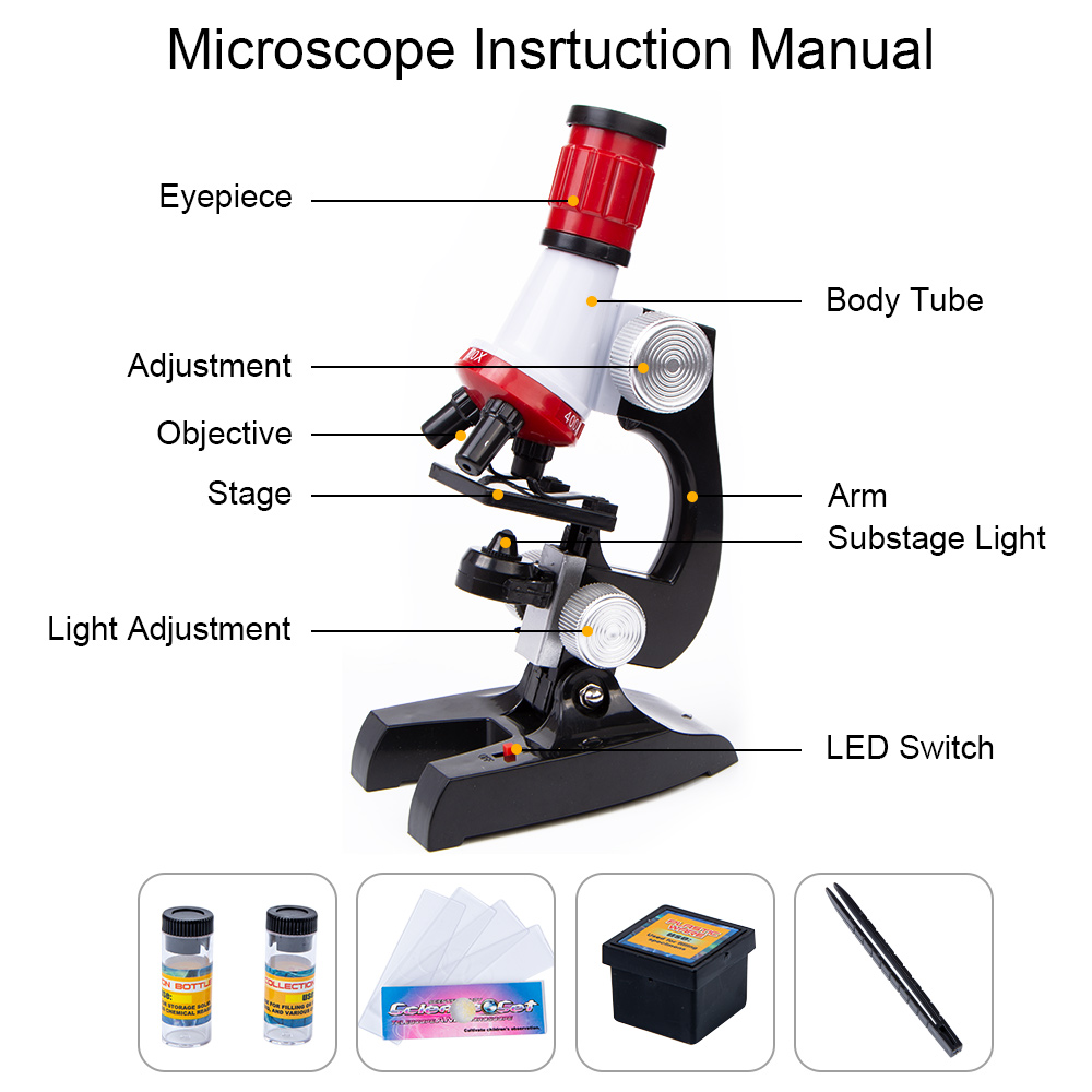 Image 2 - 1200X 400X 100X Microscope Kit Lab LED Home School Science Educational Kids Toy Gift Refined Biological Microscope For Children-in Microscopes from Tools