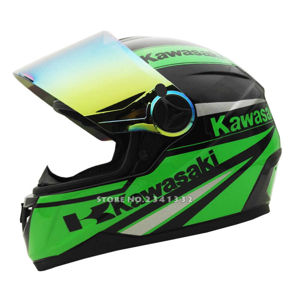 Best Looking Motorcycle Helmets Kawasaki Full Face Motorcycle helmet Racing Moto Motocicleta Capacete ...
