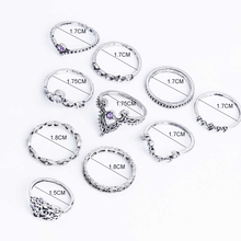 Fashion 10Pcs/Set Bohemian Hollow Water Drop Pattern Vintage Crystal Beidou Seven Stars Fatima Hand Ring For Women gifts