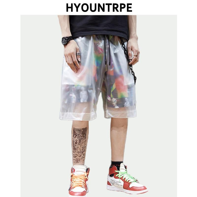 Men Hip Hop Shorts Patchwork See-through Punk Short Pant Chain Decoration Summer Party Casual Elastic Waist Streetwear Shorts