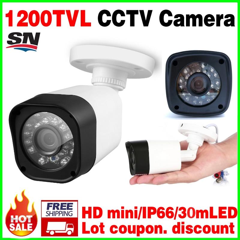 купить 2017New 1/4cmos real 1200TVL Waterproof IP66 CCTV hd camera IR-CUT 24led 30m Night Vision Video monitoring security mini vidicon недорого