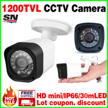3.28BigSale Real 1200TVL Cmos CCTV HD Camera Waterproof IP66 IRCUT 24led 30m Night Vision Video monitoring security mini vidicon