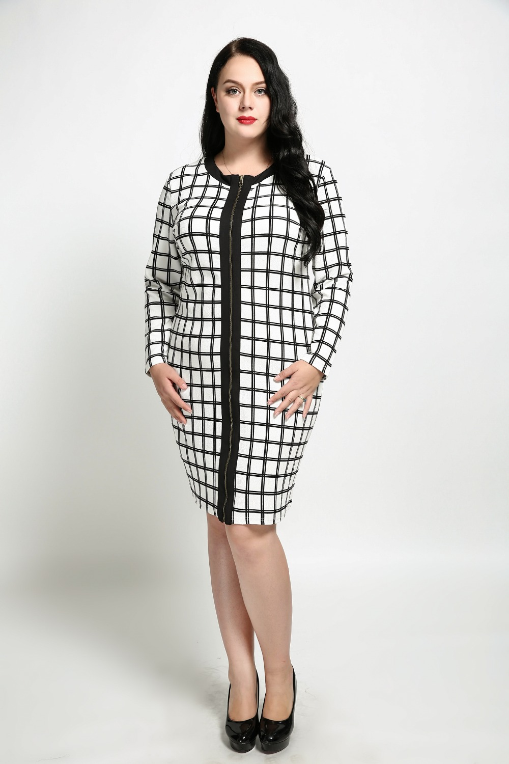 Women s Sexy Long Sleeve Plus Size Cocktail Party Dress Black Plaid Cell  Casual Dress Knee Length Midi Sheath Dress Autumn Dress-in Dresses from  Women s ... f4a23b032bbb