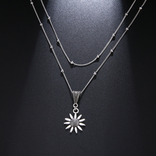 Double Layered Sunflower Silver Chain Necklace