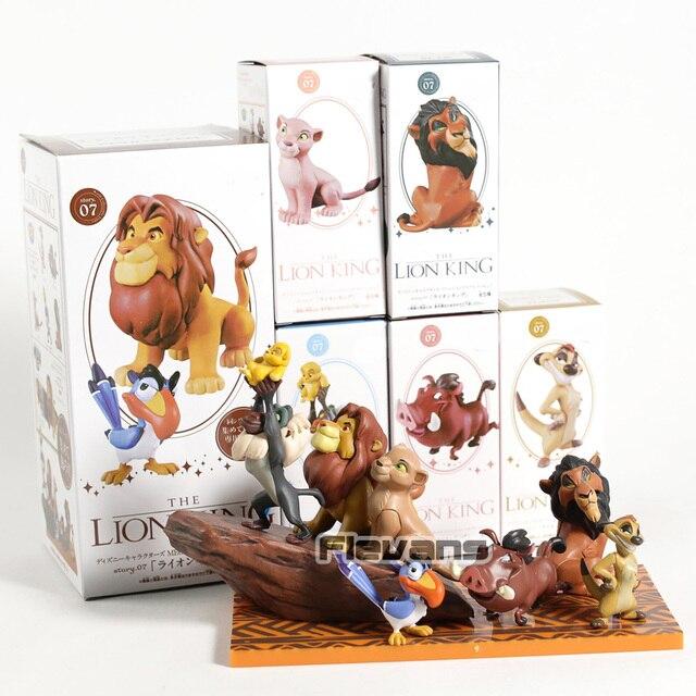WCF historia 07 El Rey León Simba Mufasa Pumba cicatriz Rafiki timón figuras de PVC juguetes 6 unids/set