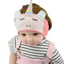 Children's Unicorn Hair Ribbon Baby's Head Band Knitted Ear Protector Warm Hair Accessories(China)