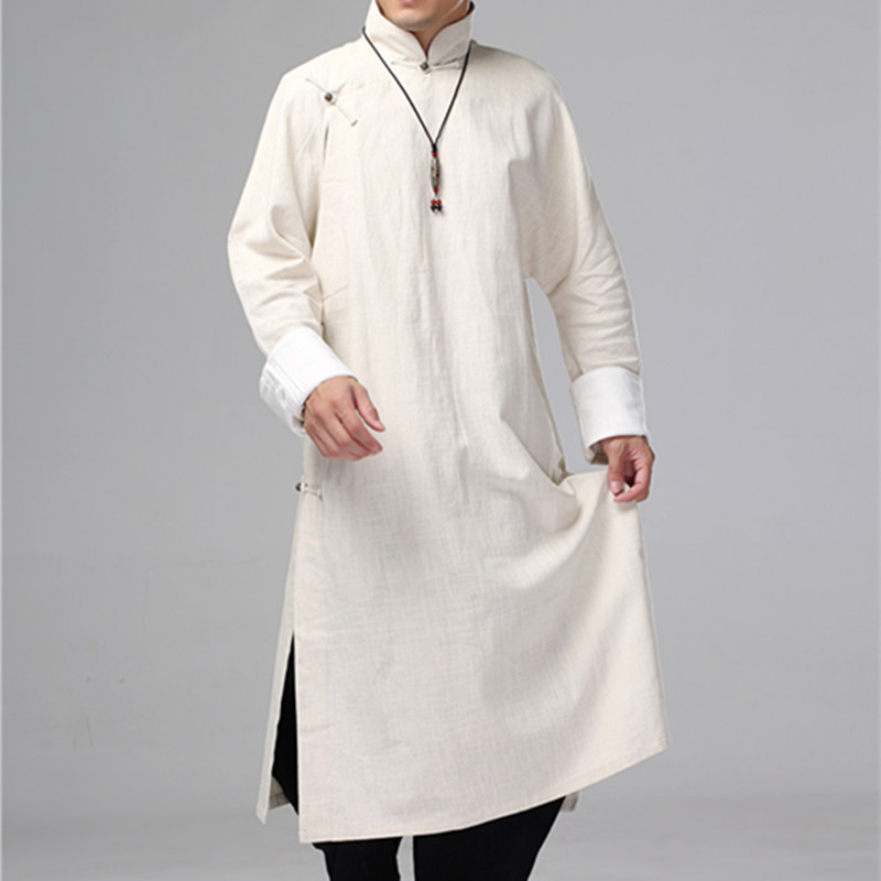 Helisopus <font><b>Men's</b></font> <font><b>Linen</b></font> Long Dress <font><b>Shirt</b></font> Traditional Chinese Kung fu <font><b>Linen</b></font> <font><b>Shirt</b></font> Casual <font><b>Vintage</b></font> Male One Piece Clothing image