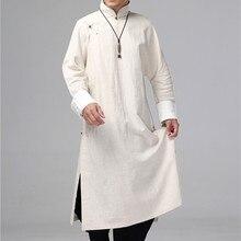 Helisopus masculino linho longo vestido camisa tradicional chinês kung fu linho camisa casual vintage masculino uma peça roupas