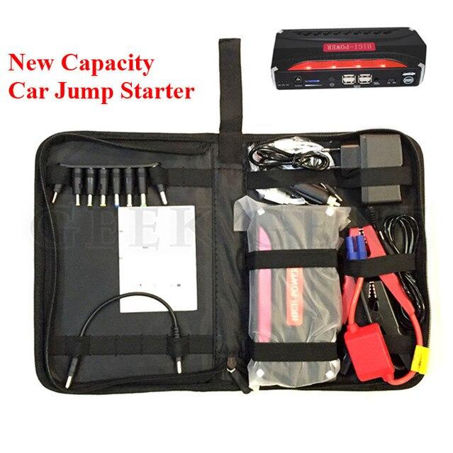 2017 Mini Multi-Function 12V Car Jump Starter Mobile 4USB Power Bank SOS Light 600A Peak Emergency Starting Petrol Diesel Engine