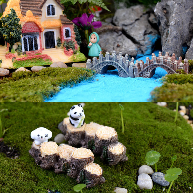 Stump Small Bridge Moss Micro Landscape Resin Mini Miniatures Small Ornaments Crafts Fairy World Decoration Toy For Kids Gift