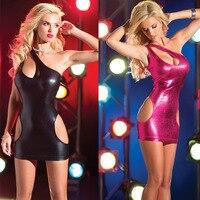 Sexy Women S Red Metallic PVC One Shoulder Mini Sexy Costumes Dress Lingerie Clubwear Stripper