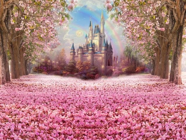 Photography Backdrop Fairytale Castle Pink Woods Children Princess