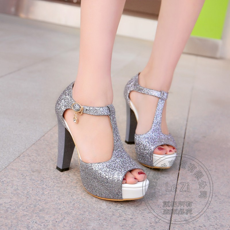 Superstar Plain Square Heel Ventilate font b Women b font Shoes Peep Toe High Heels Open