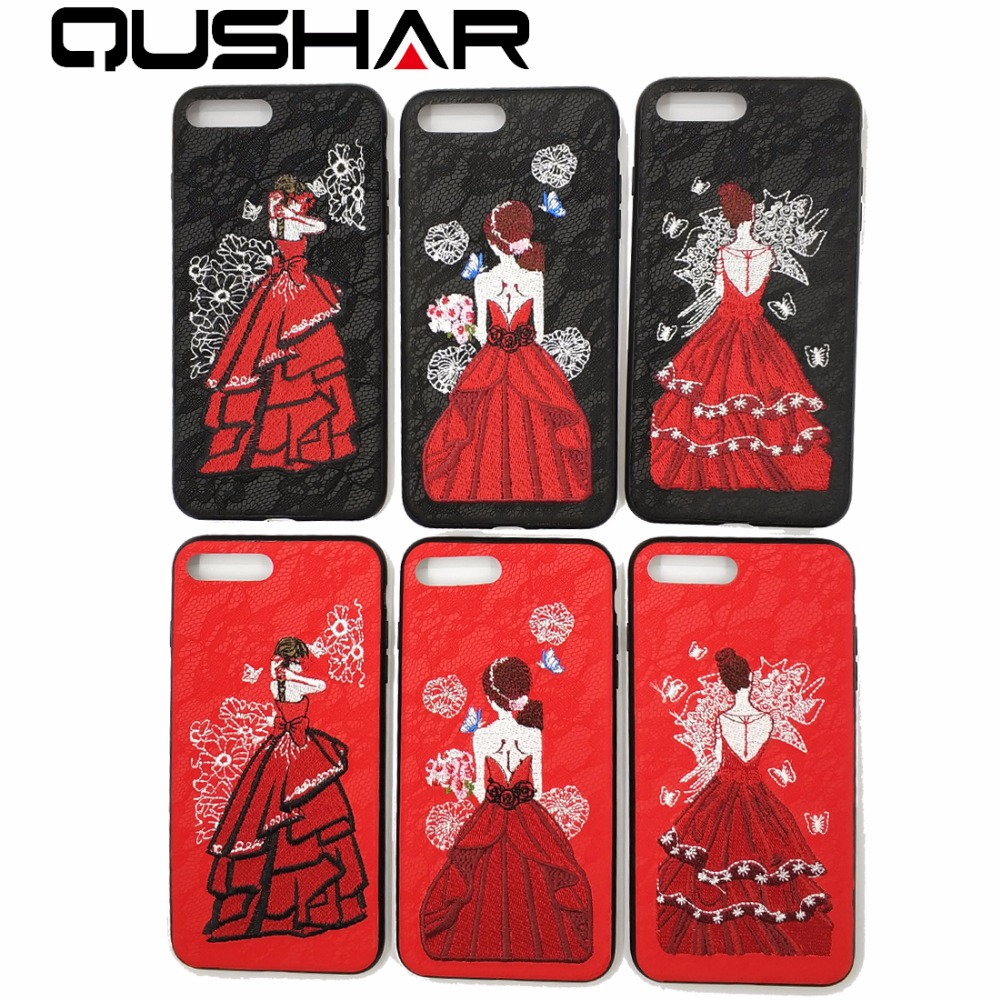 QuShar Art Flower Handmade Embroidery Girl Cases for iphone 6 6s plus Red Black Lace PU Leather Phone Cover for iphone 7 8 plus