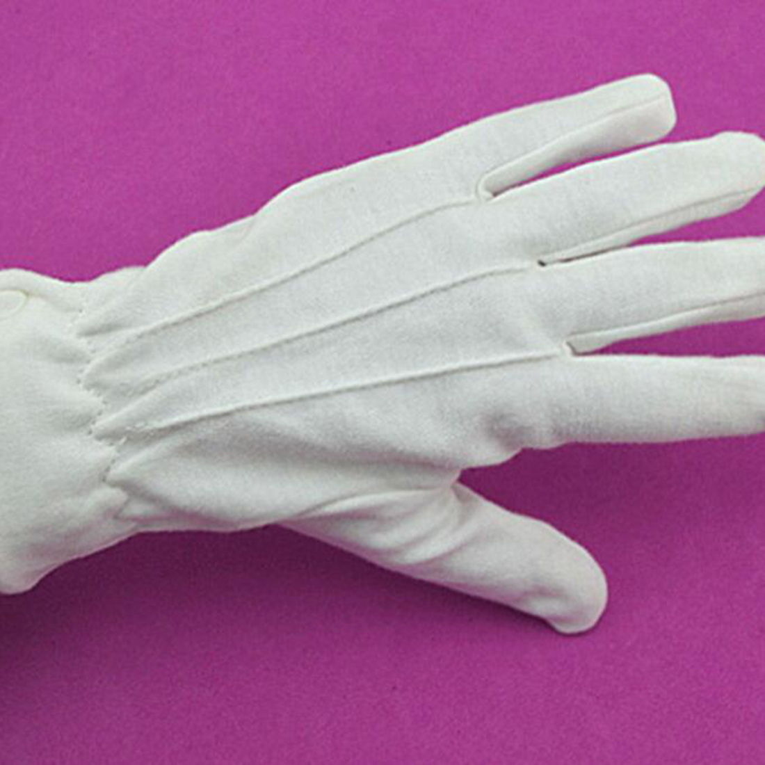 New White Cotton Gloves Formal Work Uniform Catering Band Magician Parades Inspection Five-fingers Men's Work Gloves